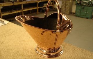 polished copper coal scuttle
