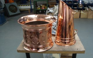 Copper coal scuttle polished