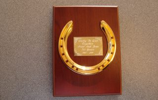 Gold Horse Shoe On A Plaque