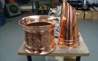 Copper coal scuttle polished